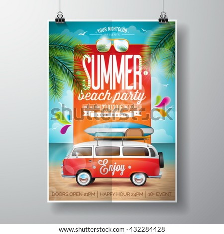 Vector Summer Beach Party Flyer Design with travel van and surf board on ocean landscape background. Eps10 illustration. - stock vector