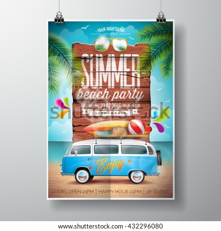 Vector Summer Beach Party Flyer Design with travel van and surf board on ocean landscape background. Typographic design on vintage wood. Eps10 illustration. - stock vector