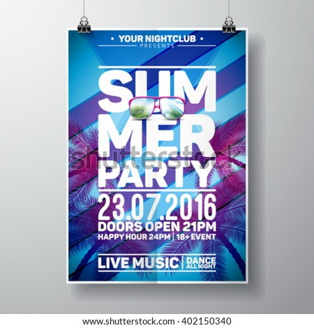 Vector Summer Beach Party Flyer Design with typographic elements and copy space on color palm background. Eps10 illustration. - stock vector