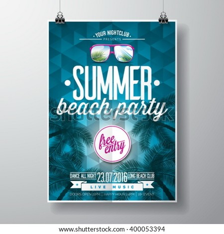 Vector Summer Beach Party Flyer Design with typographic elements on blue triangle background. Eps10 illustration. - stock vector