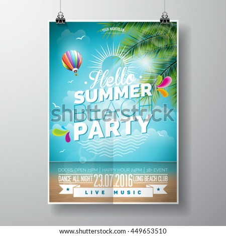Vector Summer Beach Party Flyer Design with typographic elements on ocean landscape background. Air balloon and palm tree. Eps10 illustration. - stock vector