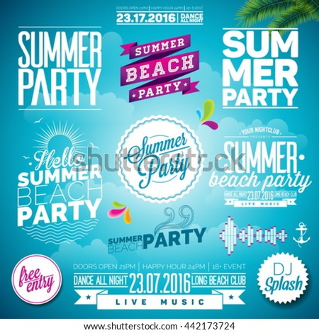 Vector Summer Beach Party Typography Illustration set with signs and symbols on blue background. Icon collection for clubs and night club. Eps 10 design. - stock vector