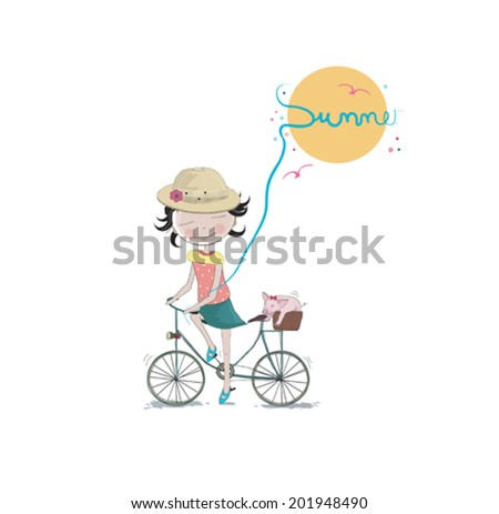 Vector summer card design with cute little girl - stock vector