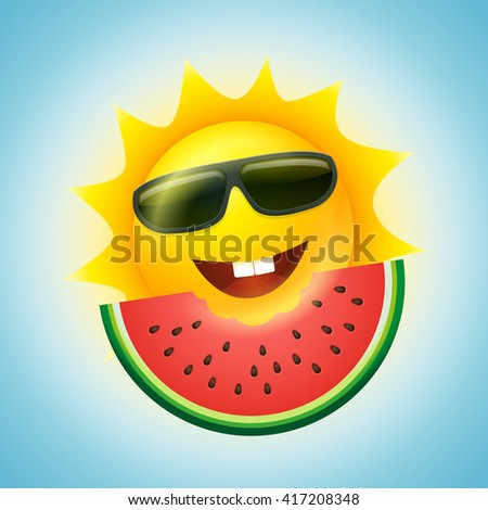 Vector summer concept illustration. Cartoon sun character and watermelon slice. - stock vector