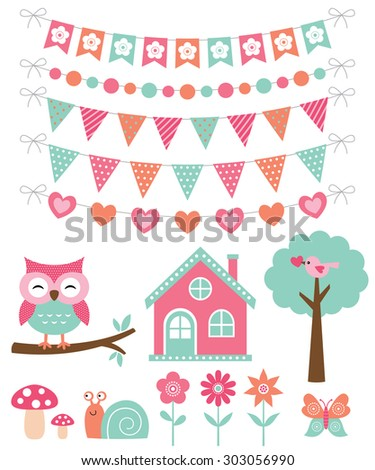 Vector summer decoration and design elements set - stock vector