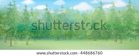 Vector summer forest background. - stock vector