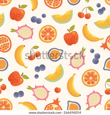 Vector summer fruits background. Seamless food pattern. Grapefruit, honeydew, banana, pomegranate, cherry, fig, elderberry, apple in bright colors.