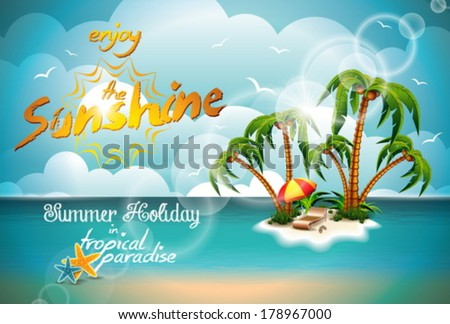 Vector Summer Holiday Design with Paradise Island on blue sea background. Eps10 illustration. - stock vector