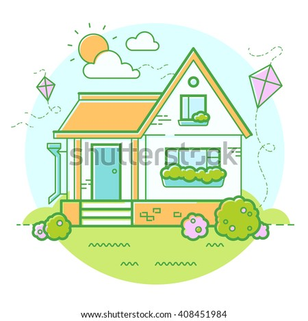 Vector summer house and kite. Sunny day. Circle illustration.