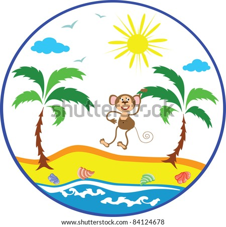 Vector summer icon with monkey