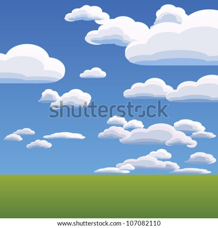 vector summer landscape with heavenly clouds against the blue bright sky