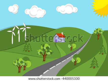 Vector summer or spring landscape background. Road in green valley, hills, wind turbines,  and sun on the sky. Flat design nature illustration. - stock vector