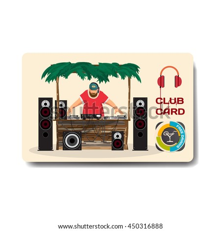 Vector summer party flyer disco style. Day beach, dj with sound system, template posters, invitation.