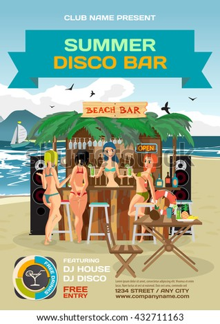 Vector summer party invitation beach disco style. Day beach, bar with sound system, women's hen party in bikinis. Posters, invitations or flyers. Vector template beach summer party poster.