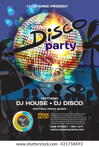 Vector summer party invitation disco style. Night beach, crowd women in bikinis, palm trees, disco ball posters, invitations or flyers. Vector template night summer party poster.