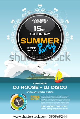 Vector summer party invitation disco style. Seascape with boat and island to posters, invitations or flyers. Vector template flat summer party poster. - stock vector