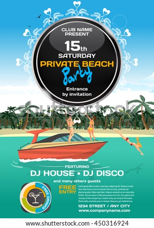 Vector summer party invitation. Women in bikini riding on a motorboat. Posters, invitations or flyers.