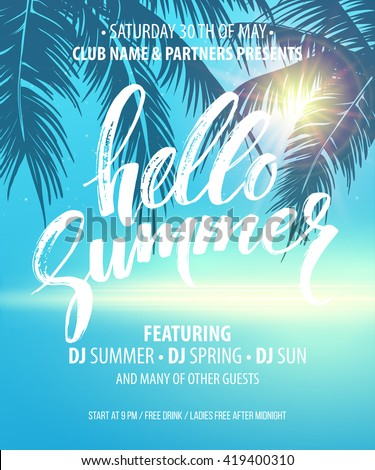 Vector summer party poster background - stock vector