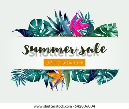 Vector Summer Sale banner, poster with trendy tropical palm leaves, jungle. Beautiful floral tropical summer Web banner or poster for e-commerce, on-line cosmetics shop, fashion & beauty shop, store.