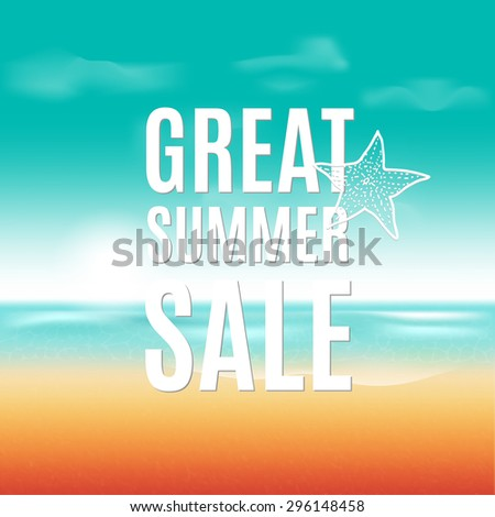 Vector summer sale poster with beach background. - stock vector