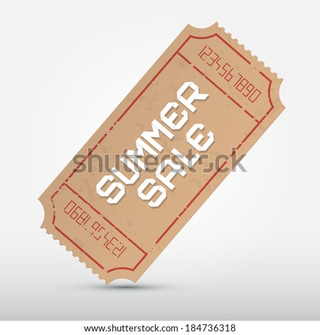 Vector Summer Sale Ticket Illustration  - stock vector