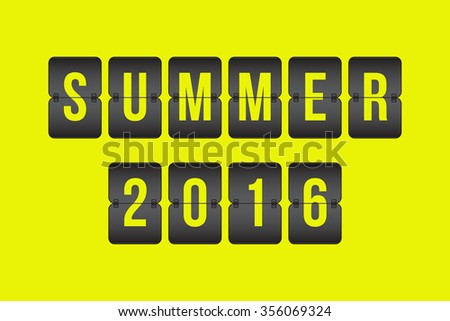 vector Summer 2016 Scoreboard, black and yellow flip sign isolated on yellow background