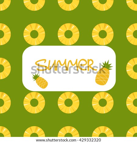 Vector summer seamless background with pineapples - stock vector
