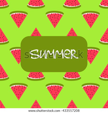Vector summer seamless background with watermelons - stock vector