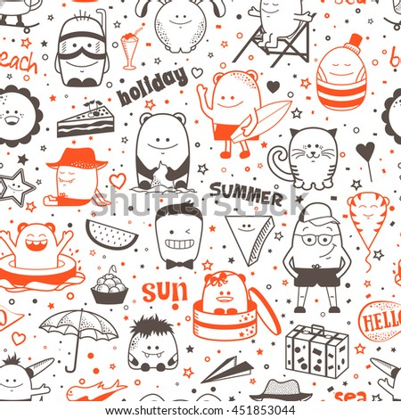 Vector summer seamless pattern with funny monsters, personage. Cool black and red hand drawn characters. Cartoon animals, painted doodles, children's seamless background. Set of unusual creatures - stock vector
