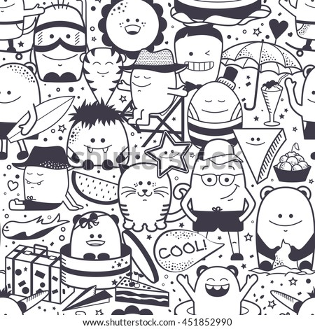 Vector summer seamless pattern with funny monsters, personage. Cool black and white hand drawn characters. Cartoon animals, hand drawn doodles, children's seamless background. Set of unusual creatures