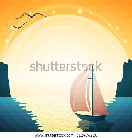 Vector summer seascape with yacht and sun. - stock vector