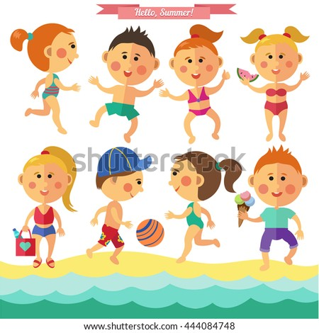 Vector summer set with kids in flat style. Kids playing, jumping, running.