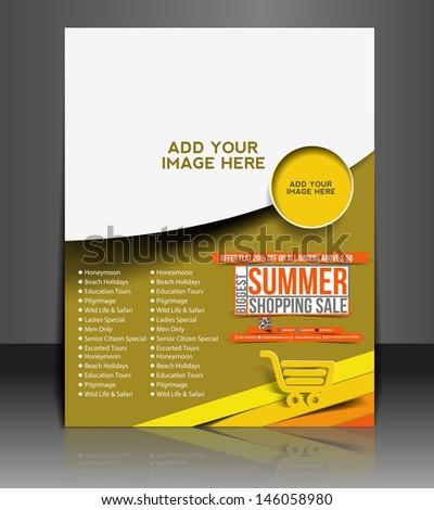 Vector Summer Shopping Flyer Magazine Cover & Poster Template. - stock vector
