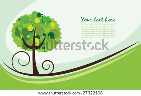 Vector summer tree background - stock vector