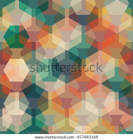 Vector summer vibes seamless pattern with transparent sparkling pentagons and hexagons. EPS8 - stock vector