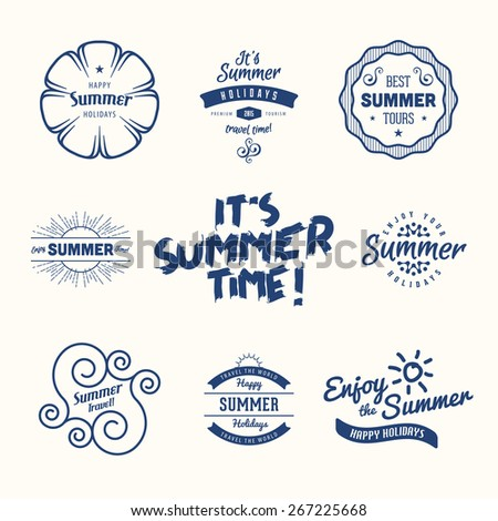 Vector Summer vintage label, frame, insignia design template in line style. Travel, tours, nautical, beach, sun, water, wave elements.  - stock vector