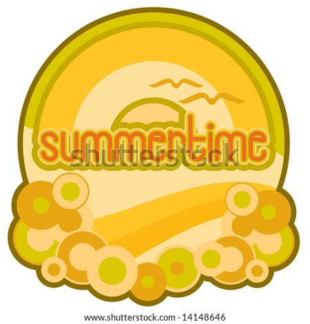 Vector summertime image with ocean waves, bubbles, rainbow, and sun in retro 1980s style graphics. Hand-drawn letters. - stock vector