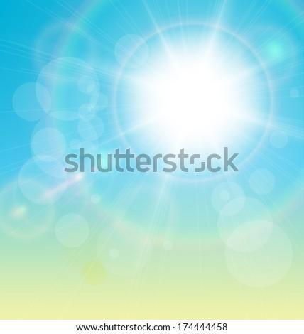 Vector sun and blue sky background. - stock vector