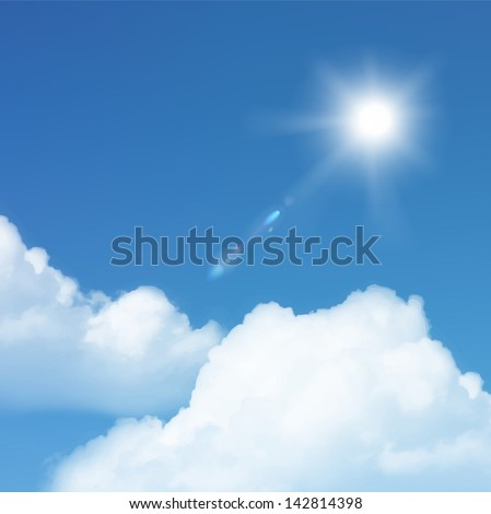 Vector sun and cloud on blue sky. - stock vector
