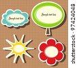 vector sun, cloud, tree and flower frames - stock vector