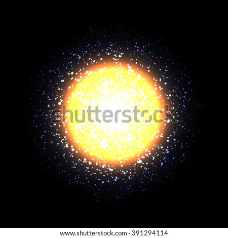 Vector sun on black background. Bright orange light. Orange star, cosmic element. Abstract space background. - stock vector
