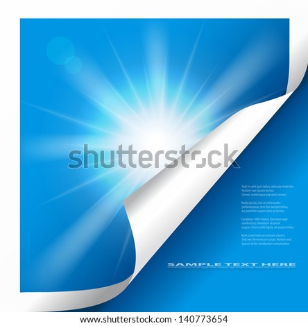 Vector sun on blue background with copy space. - stock vector