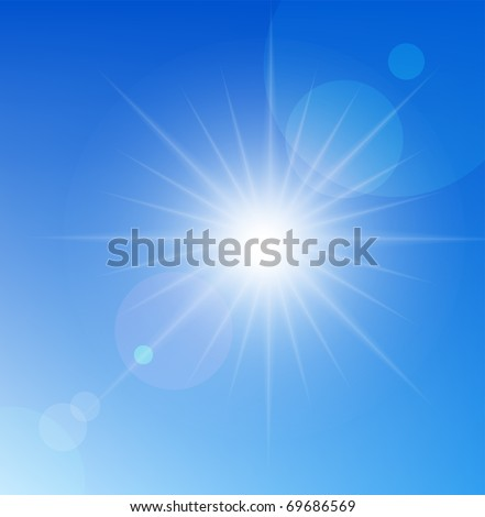 Vector sun on blue sky. - stock vector