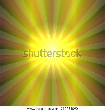 Vector sun on green background - stock vector