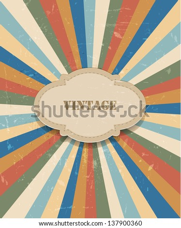 Vector sun rays retro background - stock vector