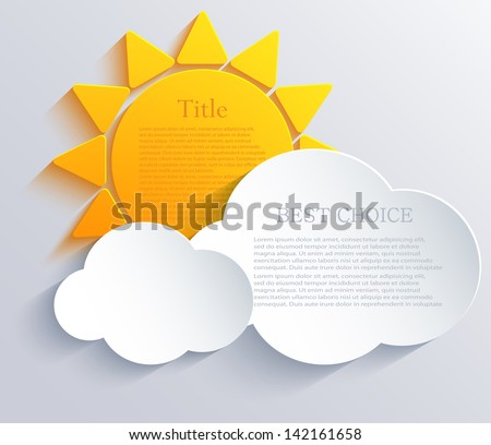 Vector sun with clouds background. Eps10 - stock vector