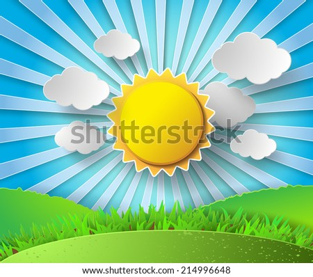 Vector sun with clouds background.paper cut style. - stock vector