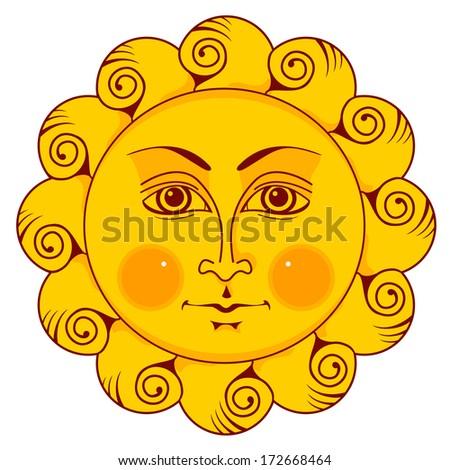 Vector Sun with face  - stock vector