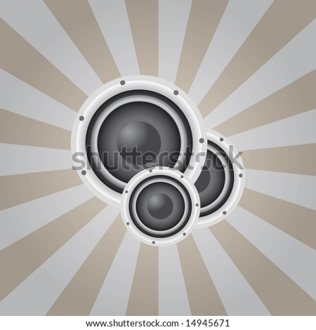 Vector sunburst background with stereo speakers / audio and music theme