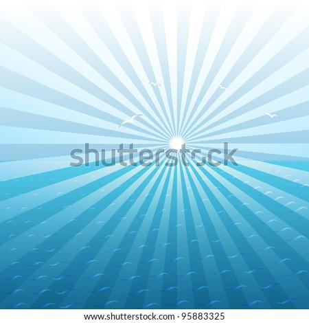 vector sunburst over the sea, eps10 - stock vector